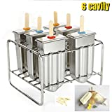 ice cream popsicle sticks - stainless steel popsicle mold machine -ice pop molds bpa free -ice Cream Mold pop molds with wooden sticks-ice pop maker molds (6 cavity bottom is round Mould