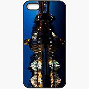 Protective Case Back Cover For iPhone 5 5S Case Czech Republic River Hradec Kralove Night Of Black