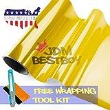 "Free Tool Kit 12""x60"" (1FT x 5FT) Glossy Golden Yellow 3000k Tint Headlight Fog Lights Taillight Smoke Vinyl Film Self Adhesive"