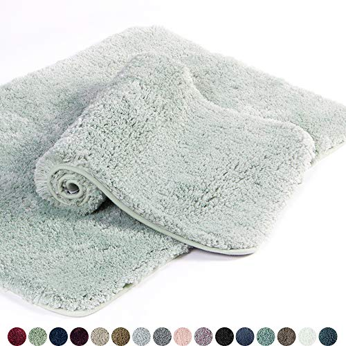 - Walensee Bathroom Rug Non Slip Bath Mat for Bathroom (16 x 24) Water Absorbent Soft Microfiber Shaggy Bathroom Mat Machine Washable Bath Rug for Bathroom Thick Plush Rugs for Shower (Pale Green)