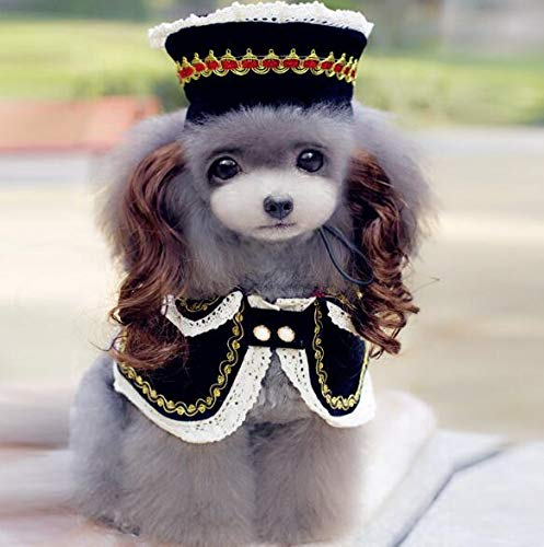 BeesClover High Grade Dogs Cats Lovely lace Wig hat Cloak Set pet Dog cat Fashion Princess caps Scarf Suit Pets Grooming Accessories 1pcs PF11 M