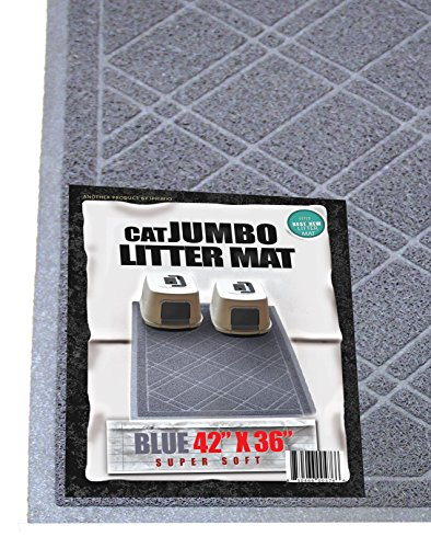 iPrimio - Cat Litter Mat with Plaid Design - Phthalate & BPP Free - Jumbo - Blue Gray
