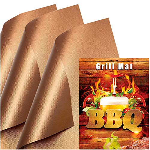 SKYBD Copper Grill Mat (Set of 3) Non-Stick BBQ Grill &Baking Mats for Gas, Charcoal, Electric Grill Sheet - Reusable and Easy to Clean- 15.75 x 13 Inch