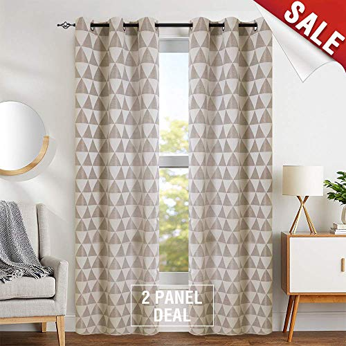 Jacquard Window Curtains for Living Room Delta Pattern Opaque Light Filtering Grommet Curtain Panels for Bedroom Privacy Window Treatment Set, Gold, 1 Pair, 84 inch - Panels Opaque
