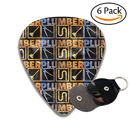 Plumber Plumbing Gifts 351 Shape Thin Medium Heavy Celluloid Guitar Picks 6 Pack
