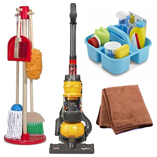 Toy Vacuum Pretend Play Dyson Ball Vacuum With Real Suction and Sounds with Melissa and Doug Cleaning Set and Cleaning Cloth by CASDON
