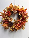 Autumn Treasures 22 Inch Decorative Fall Door Wreath with Pumpkins Gourds Orange Flowers Pine Cones Oak and Maple Leaves Seasonal Autumn Home Decor