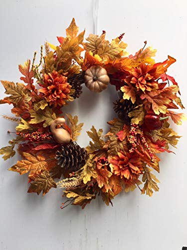 Autumn Treasures 22 Inch Decorative Fall Door Wreath with Pumpkins Gourds Orange Flowers Pine Cones Oak and Maple Leaves Seasonal Autumn Home Decor by Wreaths For Door