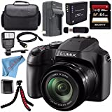 Panasonic Lumix DC-FZ80 DC-FZ80K Digital Camera + Rechargable Li-Ion Battery + Home Car External Charger + Sony 64GB SDXC Card + Carrying Case + Tripod + HDMI Cable + Fibercloth + Flash Bundle