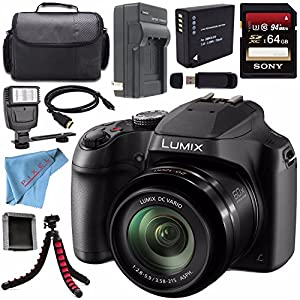 Panasonic Lumix DC-FZ80 DC-FZ80K Digital Camera + Rechargable Li-Ion Battery + Home and Car External Charger + Sony 64GB SDXC Card + Carrying Case + Tripod + HDMI Cable + Fibercloth + Flash Bundle