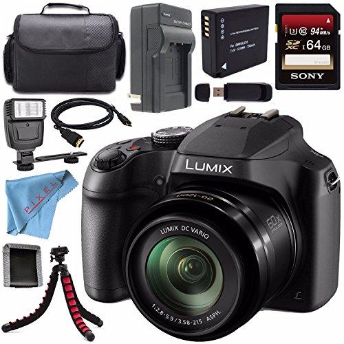 Panasonic Lumix DC-FZ80 DC-FZ80K Digital Camera + Rechargable Li-Ion Battery + Home Car External Charger + Sony 64GB SDXC Card + Carrying Case + Tripod + HDMI Cable + Fibercloth + Flash Bundle