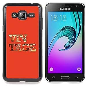 """Qstar Arte & diseño plástico duro Fundas Cover Cubre Hard Case Cover para Samsung Galaxy J3(2016) J320F J320P J320M J320Y (Vintage texto fresco Red Old School de Orange"""")"""