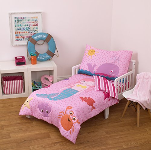 Little Tikes 4 Piece Mermaid Toddler Bedding Set, Fuchsia/Pink, -