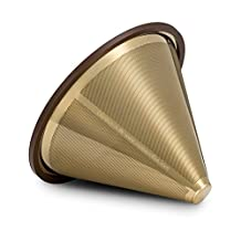 """Osaka, Titanium Coated, Gold Pour Over Cone Dripper, Reusable Stainless Steel Coffee Filter for Osaka, Chemex, Hario, Carafes and More """"Kokyo"""""""