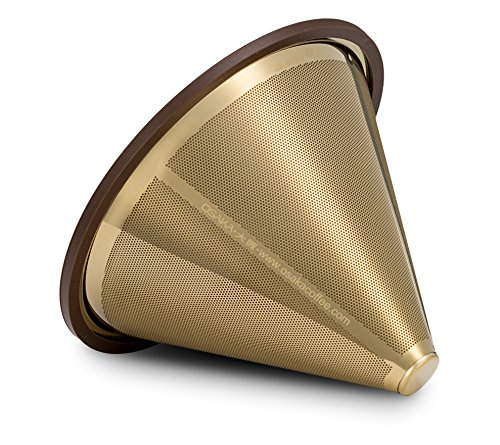 Osaka, Titanium Coated, Gold Pour Over Cone Dripper, Reusable Stainless Steel Coffee Filter for Osaka, Chemex, Hario, Carafes and More