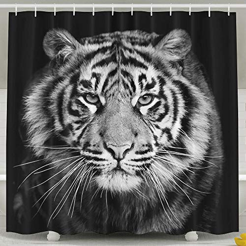 Waterproof Shower Curtain Tiger Black and White Photo Shower Curtain 100% Polyester Fabric 71