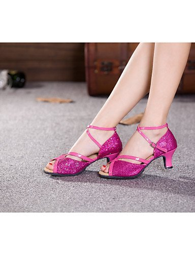 us6 Shoes Dance eu37 Glitter Red Cuban SNEED Leatherette cn37 Other 5 Heel silver Paillette 5 5 Sparkling Women's uk4 Latin Silver 7 Synthetic Belly Samba pRqxT5xwE