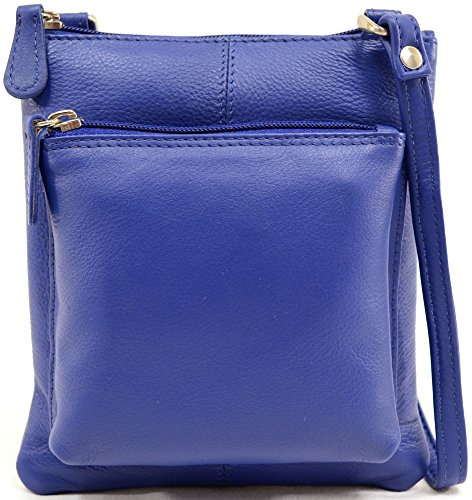 Cross Body Leather Ladies Bag Womens 100 Premium Shoulder Blue qw1w6BR