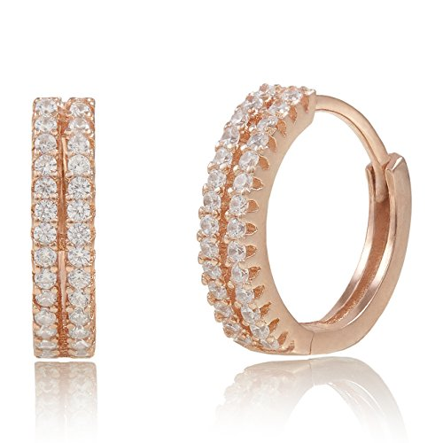 Spoil Cupid Rose Gold-Plated Sterling Silver Cubic Zirconia Huggie Hoop Earrings