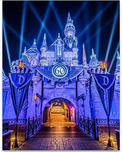 Prince Frame Blue (Disneyland Sleeping Beauty's Castle - 11x14 Unframed Art Print - Great Gift Under $15 for Disney Lovers)