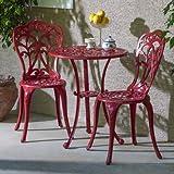 Outdoor 3 Piece Bistro Set Made w/ Aluminum in Red Finish (Table) 27.75'' H x 23.5'' W x 23.5'' L in. (Chair) 34'' H x 15.5'' W x 19'' D in.