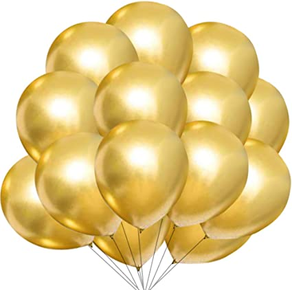 Gold Confetti Party Balloons 50pcs 12 inch White Latex Balloon with Gold Ribbon for Wedding Birthday Graduation Bridal Shower Baby Shower Party Decoration