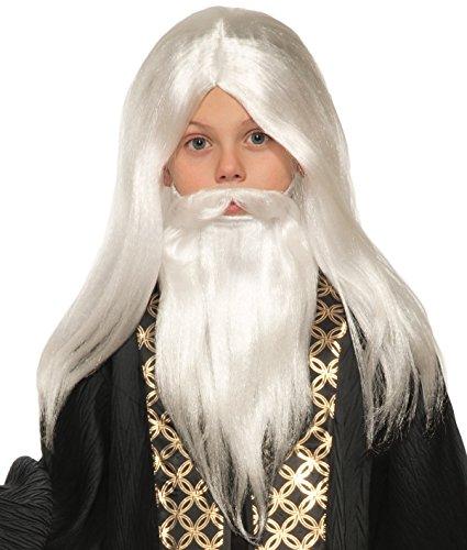 White Wizard Halloween Costume (Forum Novelties Child's Wizard Wig, Moustache, & Beard Costume,)