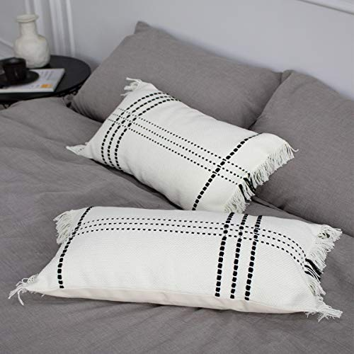 blue page Lumbar Small Decorative Throw Pillow Covers for Couch Sofa Bed - Set of 2 Modern Woven Design Pillow Cases with Fringe, Cute Farmhouse Black and White Pillowcase 12 x 20 Inch