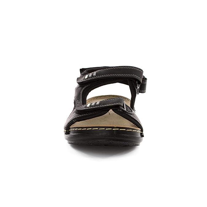 3232763d5b7 Urban Jacks Mens Easy Fasten Sporty Black Sandal  Amazon.co.uk  Shoes   Bags