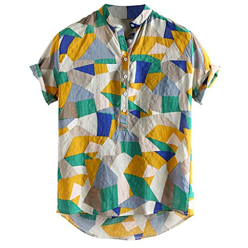 - Mens Summer Shirts,Hit Color Stand Collar Short Sleeve Shirt Casual Loose Breathable Tops (M, Green)