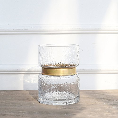 Cyl Home Vases Cylinder Clear Hammered Glass Flower Arrangement Vase Brass Gold Band Decor Dining Table Centerpieces Gifts for Wedding Housewarming Party,6.3'' H x 4.7'' D (Centerpieces Ideas Dining Table)