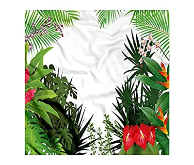 Leaf Bandana by Ambesonne, Hibiscus Plumeria Crepe Gingers Anthurium Leaves Blossoms Image, Printed Unisex Bandana Head and Neck Tie Scarf Headband, 22 X 22 Inches, Hot Pink White Red and Green