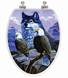 TOPSEAT 6TS3E8200CP Vario Scenario 3D Eagle and Wolf Elongated Wood Toilet Seat