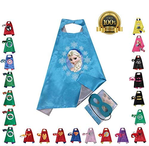 FAJ Elsa, Girls Super Hero Cape and Mask Dress Up Costume, Halloween, Birthday ()