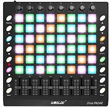 Benkeg、MIDIコントローラー コントローラー USBキーボード コントローラー, PAD48ポータブルUSB MIDIドラムパッドコントローラー48 RGBバックライト付きパッド8ノブ16ボタン8スライダー(USBケーブル付き)