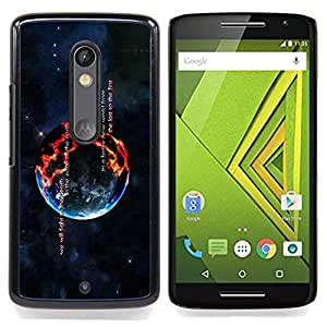 Burning Planet Caja protectora de pl??stico duro Dise?¡Àado King Case For Motorola Verizon DROID MAXX 2 / Moto X Play