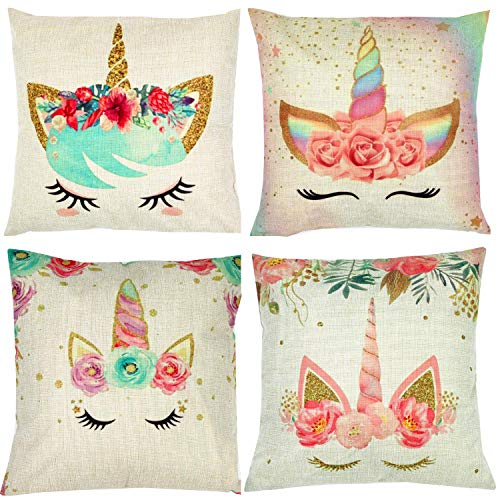 ZUEXT Set of 4 Unicorn Decorative Throw Pillow Covers 18 x 18 Inch, Colorful Pink Wavy Hair Unicorn in Garland Cotton Linen Cushion Cover Square Pillow Cases for Girls Women - Girls Bed Pillows For Throw