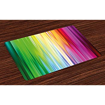 Lunarable Rainbow Place Mats Set of 4, Abstract Colors Looking Like Flowing into Another Rainbow Color Schemed Artwork, Washable Fabric Placemats for Dining Table, Standard Size, Purple Green