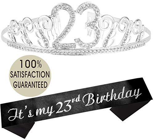23rd Birthday Tiara and Sash, Happy 23rd Birthday Party Supplies, It's My 23rd Birthday Glitter Satin Sash and Crystal Tiara Birthday Crown for 23rd Birthday Party Supplies and Decorations]()