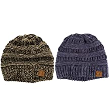 Unisex 2 Tone Warm Chunky Thick Stretch Knit Slouch Beanie Skull Ski Hat