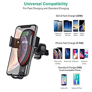 CHOETECH Wireless Car Charger, Air Vent Car Mount Dashboard Windshield Phone Holder,7.5W Fast Charging Compatible with iPhone XR/Xs Max/XS/X/8/8 Plus,10W for Galaxy S10/S9/S9???? 9/Note 8