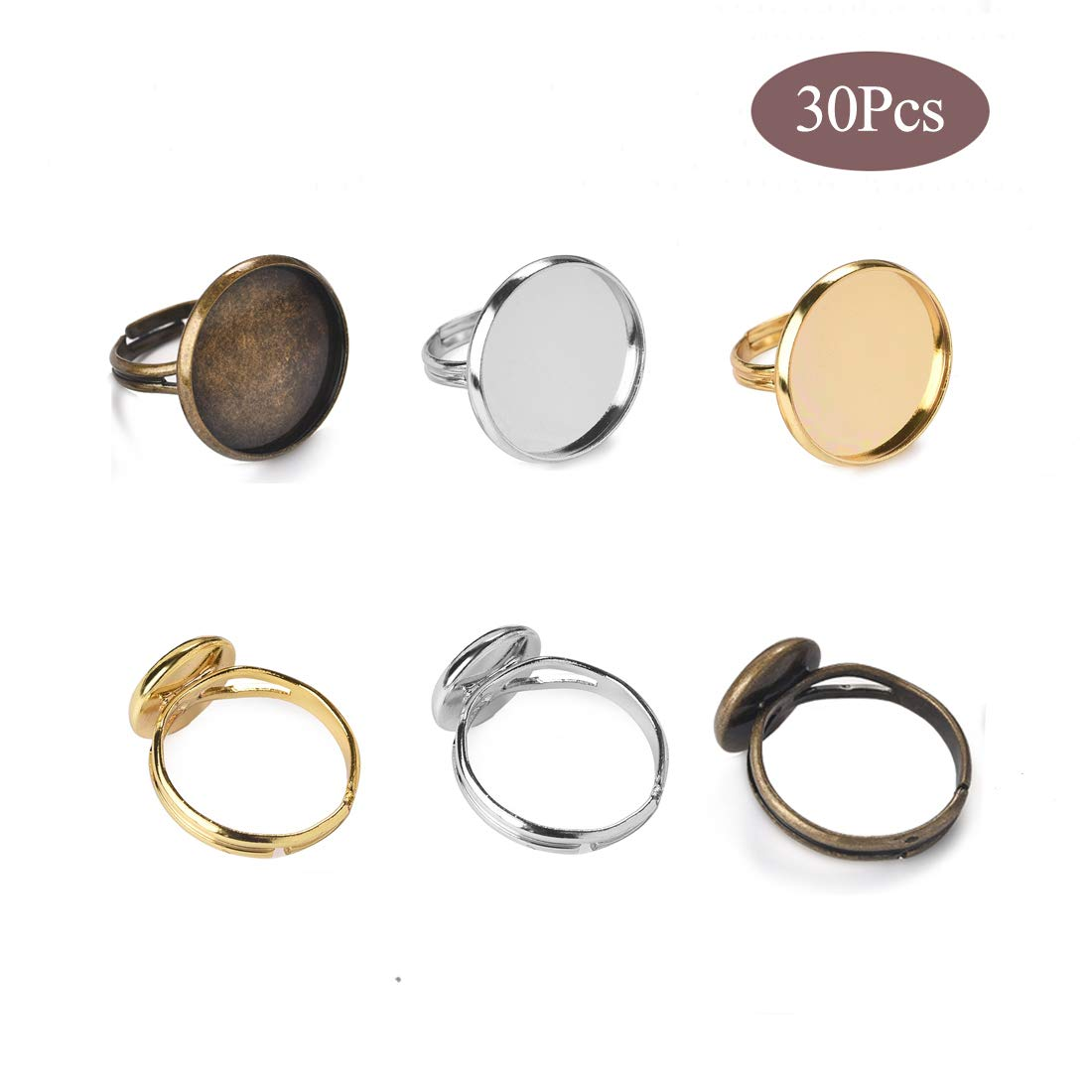 as described Bronze 10 Piece Adjustable Ring Base Blanks Cabochons Oval Shape Bezel Settings Tray Jewelry Making Findings Accessories