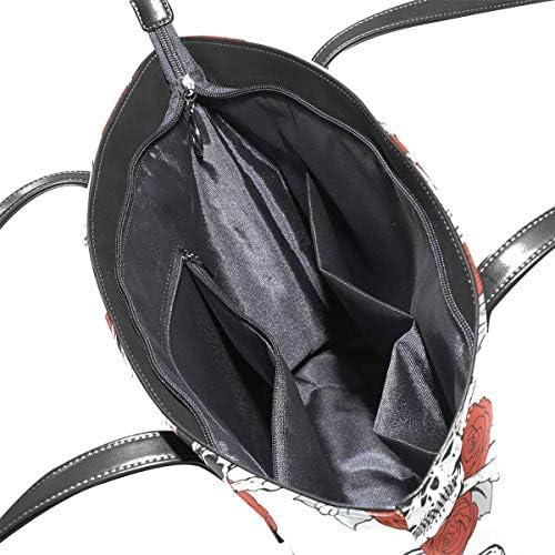 XGBags Crâne personnalisé et motifs de roses sac à main en cuir PU sac à bandoulière sac à main pour femmes filles dames