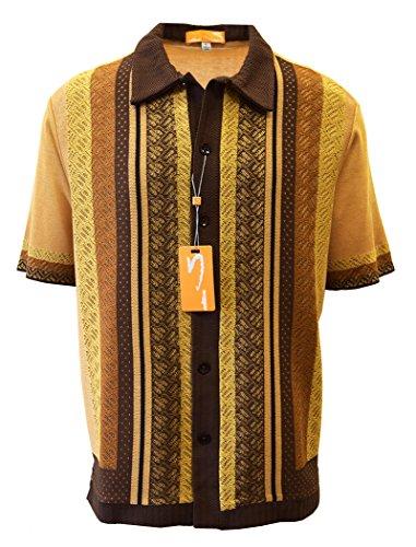 (Edition S Men's Short Sleeve Knit Shirt- California Rockabilly Style: Diamond Plate Design- 3008 (XXL, Beige))