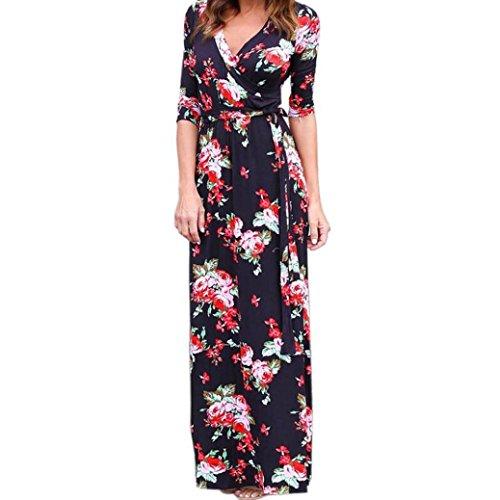 Sleeve Lap Neck Tee (HOT SALE !Maxi Dress,BeautyVan Beautiful Charming Women V Neck Boho Long Maxi Evening Party Beach Floral Sundress Dress (XL, Black))