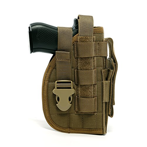 Yisibo Tactical Molle Nylon Modular Dorp Leg Rig Pistol Holster with Mag Pouch for Right Handed Shooters 1911 45 92 96 Glock Coyote Brown
