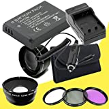 Canon EOS M 18 MP CMOS Mirrorless Digital SLR Camera LP-E12 Lithium Ion Replacement Battery + External Rapid Charger + 43mm 3 Piece Filter Kit + Wide Angle / Telephoto Lenses Bundle DavisMAX EOS M Accessory Kit for EF-M 22mm f/2 STM Lens