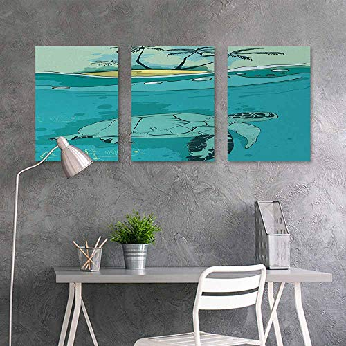 BE.SUN Printing Oil Painting Art Sticker,Ocean,Sea Turtle Swimming Coral Reef Exotic Island Underwater Life Illustration,On Canvas Abstract Artwork 3 Panels,24x47inchx3pcs,Turquoise Teal Green