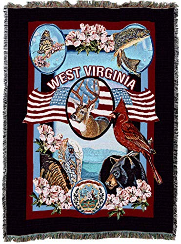 - Pure Country Weavers State of West Virginia Tapestry Throw Blanket with Fringe by Artisan Textile Mill Cotton USA 72x54
