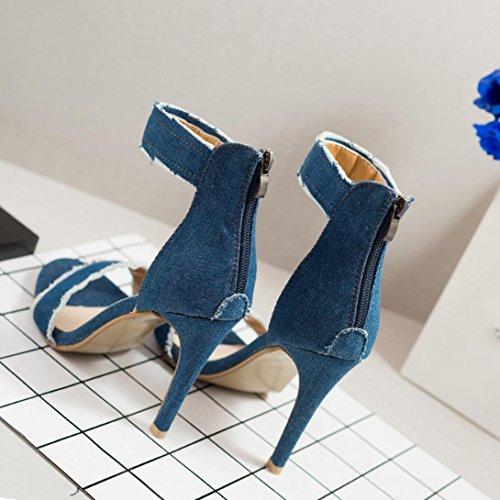Rcool Damen Pumps Fashion High Heels Shoes Wedding Women Denim High-Heeled Sandals Light Blue